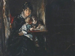 Maria Constable with Two of her Children. Verso: Copy after Teniers