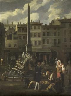 Market Scene in Rome, Piazza Navonna