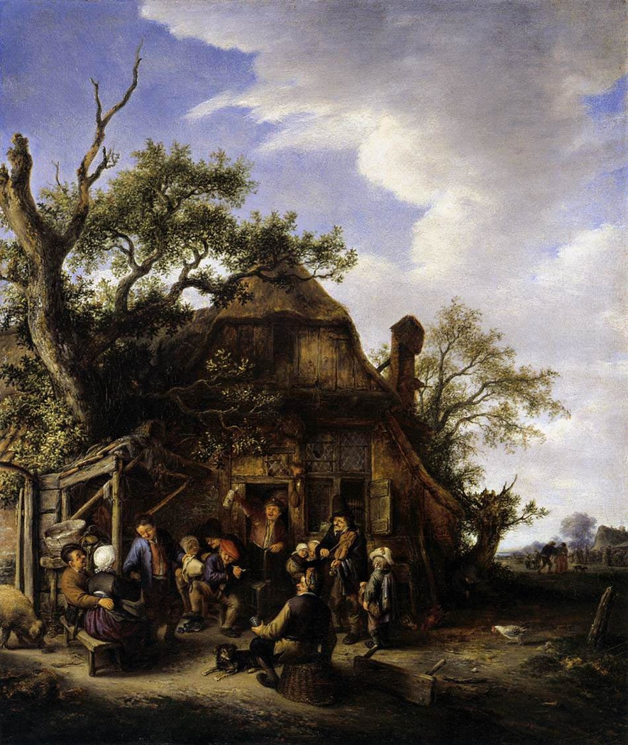 Merry company of peasants in front of an inn