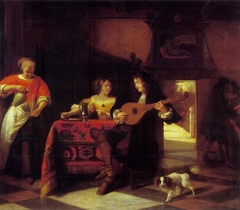 Merry Company with a mandolin and a dog