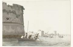 Mosselvissers op Mare Piccolo bij de vestingwerken van Tarente