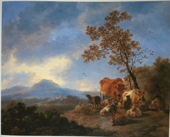 Mountain Landscape with Cattle and Herdsman