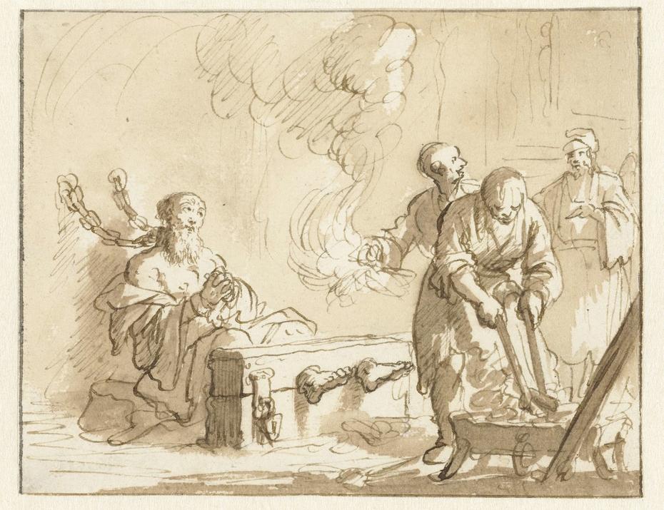 Origenes in de gevangenis met vuur gemarteld