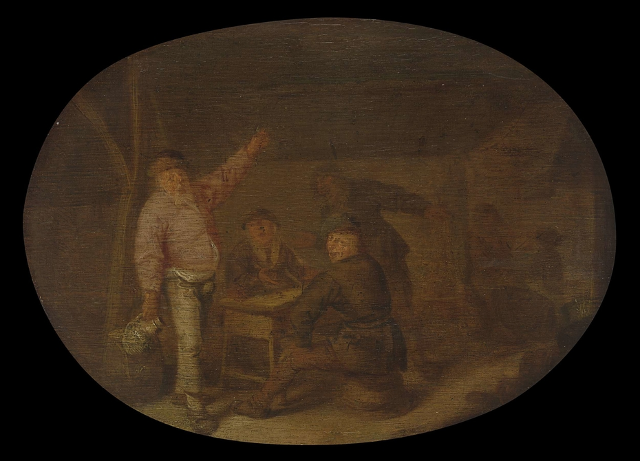 Peasants Drinking in a Barn
