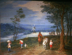 Peasants on a Path, with a Mill in the Background