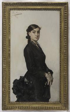 Portrait de Jacqueline Comerre-Paton en robe noire