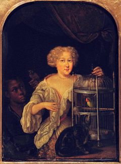 Portrait of a Woman feeding a Parrot, with a Servant