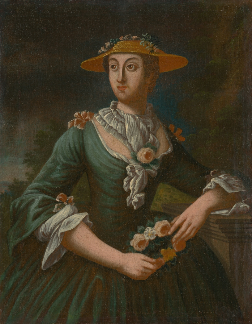 Portrait of a Woman in a Hat with Flowers
