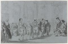Prins Eugenius van Savoye in het etablissement van Mme Traese op de Prinsengracht met revue van prostituées, ca. 1720