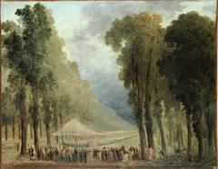 Repas servi aux troupes dans une allée des Champs-Elysées ou dans le parc de Saint-Cloud