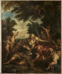 Rinaldo and Armida as lovers observed by Ubaldo and Carlo, ca. 1632