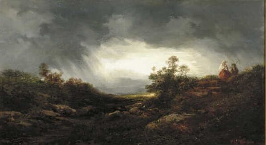 Rising Storm above a Hilly and Wooded Landscape