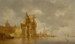 River landscape with a ruined river fortress