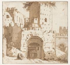 Ruïnes van Italiaanse stadswal met poort