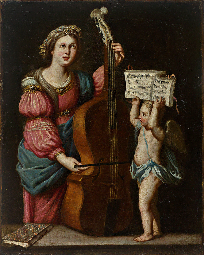 Saint Cecilia with a Double Bass, a Winged Angel Holding the Score