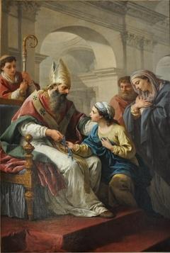 Saint Germain l'Auxerrois donnant une médaille à sainte Geneviève