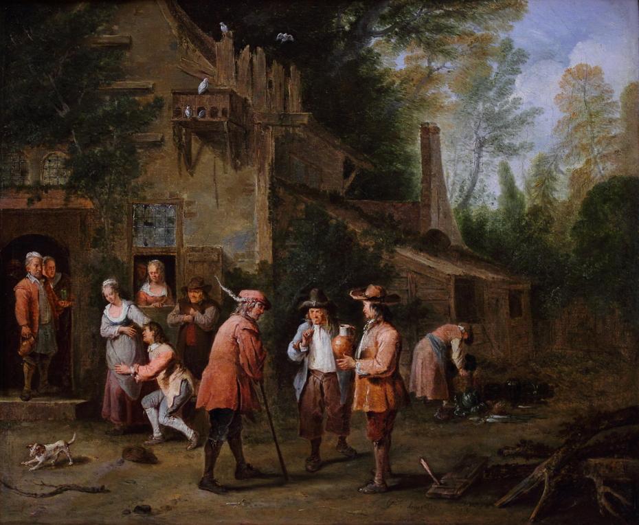 Scene in the courtyard of an inn