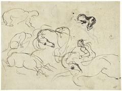 Schetsblad met ruiter, paarden en panter over een figuurstudie