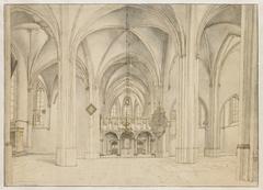 Schip en koor van de Sint-Cunerakerk te Rhenen, van west naar oost