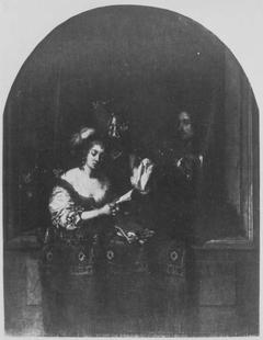 Singende Dame und lautenspielender Herr hinter steinerner Fensterbrüstung