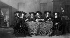 Six regents and the housemaster of the Oude Zijds institute for the outdoor relief of the poor, Amsterdam, 1675