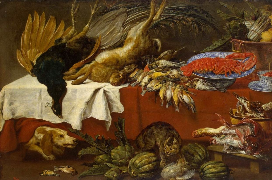 Still Life with Dead Game and Lobster
