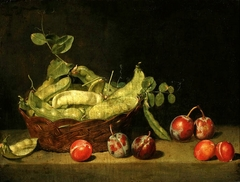 Still life with pea and plums.