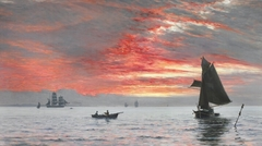Sunset over the Sea with Numerous Ships