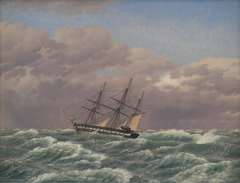 "The Corvette ""Galathea"" in a Storm in the North Sea"