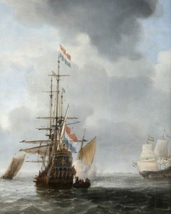 The Dutch Man-of-War 'Star' at Anchor