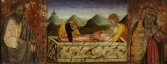 The Entombment of the Virgin; (left) St Bartholomew; (right) A female Saint