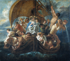 The Holy Family with Various Persons and Animals in a Boat
