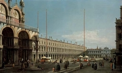 The Piazza San Marco, Venice, looking towards the Procuratie Nuove and the Church of San Geminiano from the Campo di San Basso