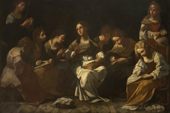 The Virgin and her Companions sewing the Veil of the Temple