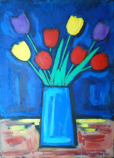 Tulips in square vase