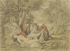 Twee saters bespieden een slapende nimf