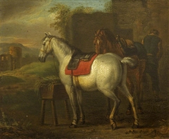 Two Horses by a Stable