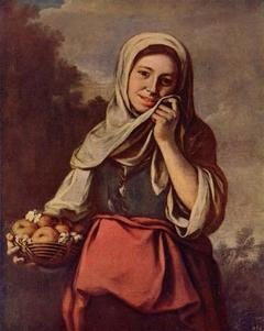 Mädchen mit Früchten und Blumen