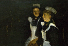 Two maids are chatting along the canals of Amsterdam