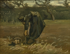 Peasant Woman Digging Up Potatoes