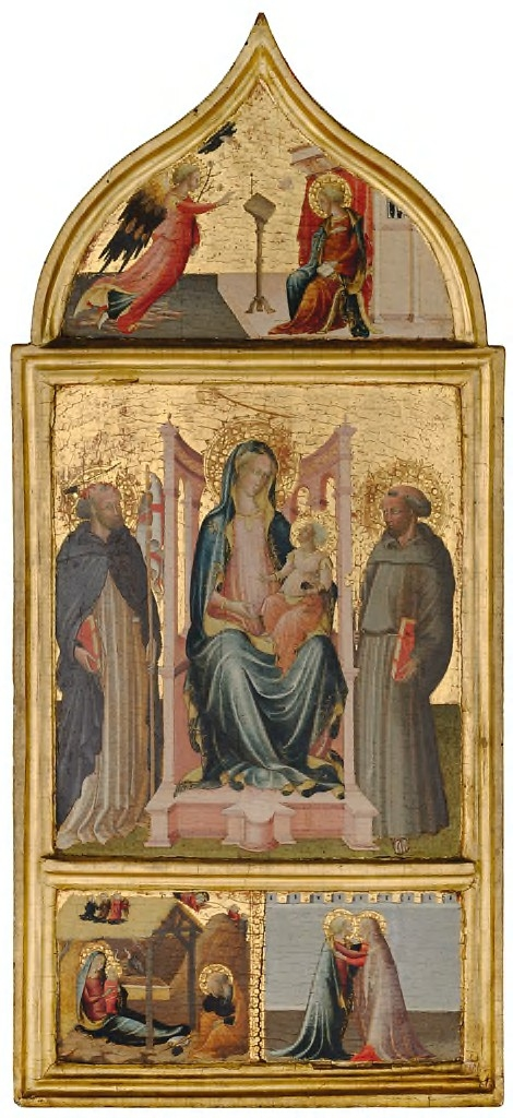 Virgin and Child Enthroned with Saint Peter Martyr and Saint Francis.  Lunette: Annunciation; Predella: Nativity and Annunciation to the Shepherds, Visitation
