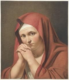 Vrouw in het rood, met gevouwen handen