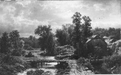 Watermill in a Wooded Landscape with Rainy Weather