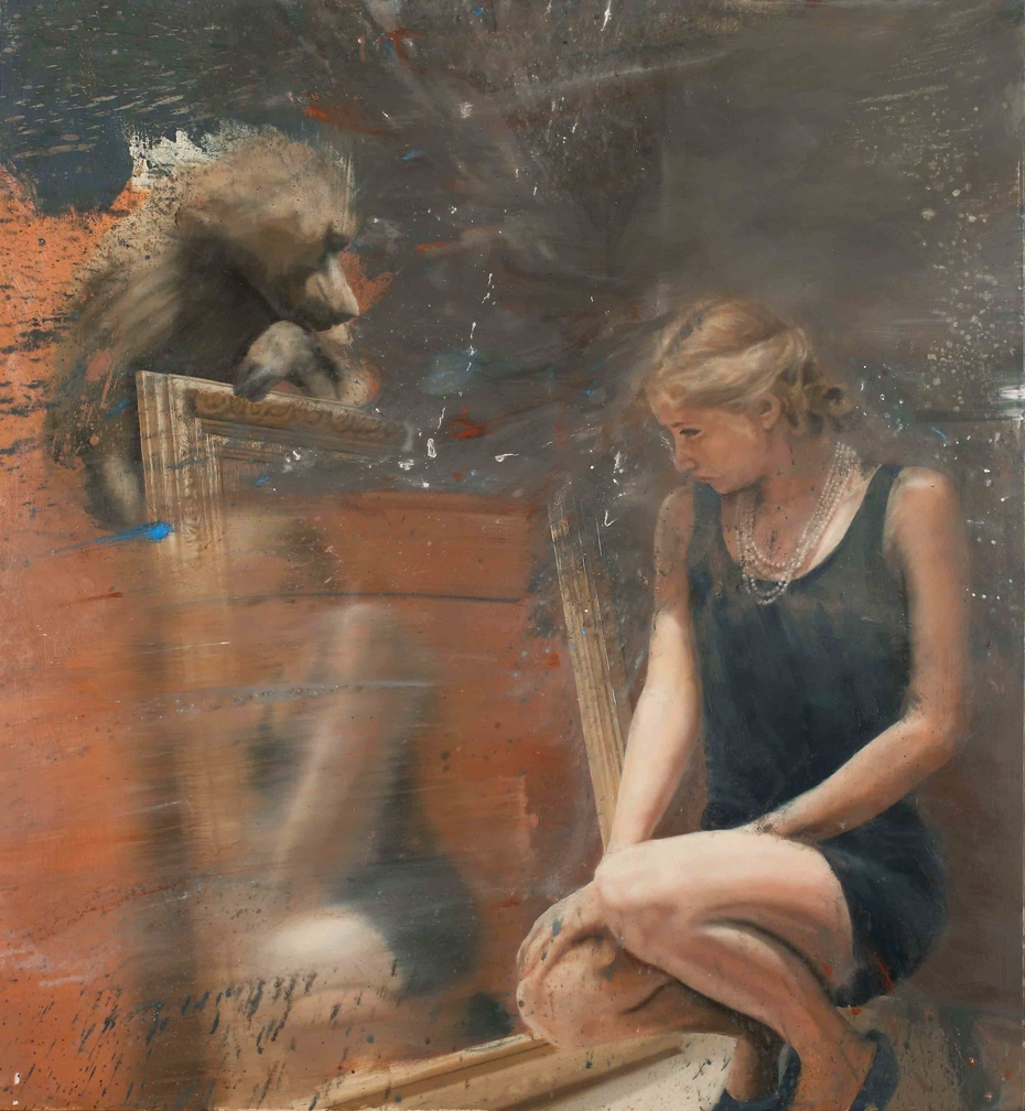 Woman at the mirror with baboon