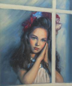 «Κορίτσι στο παράθυρο», 40 x 50 cm, oil on canvas.