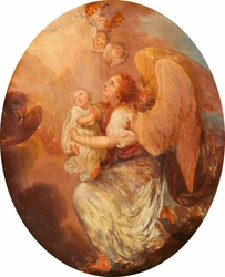 A Baby offered up to Heaven by its Guardian Angel
