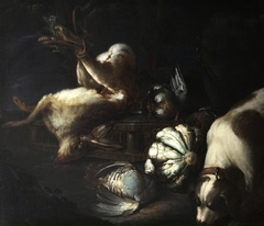 A Dog with a Still Life of Dead Game and Vegetables