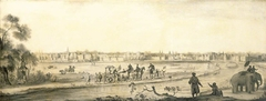 A Dutch settlement in India viewed from the land