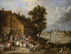 A Feast at Harvest-Time, with the House of Drij Toren in the Background