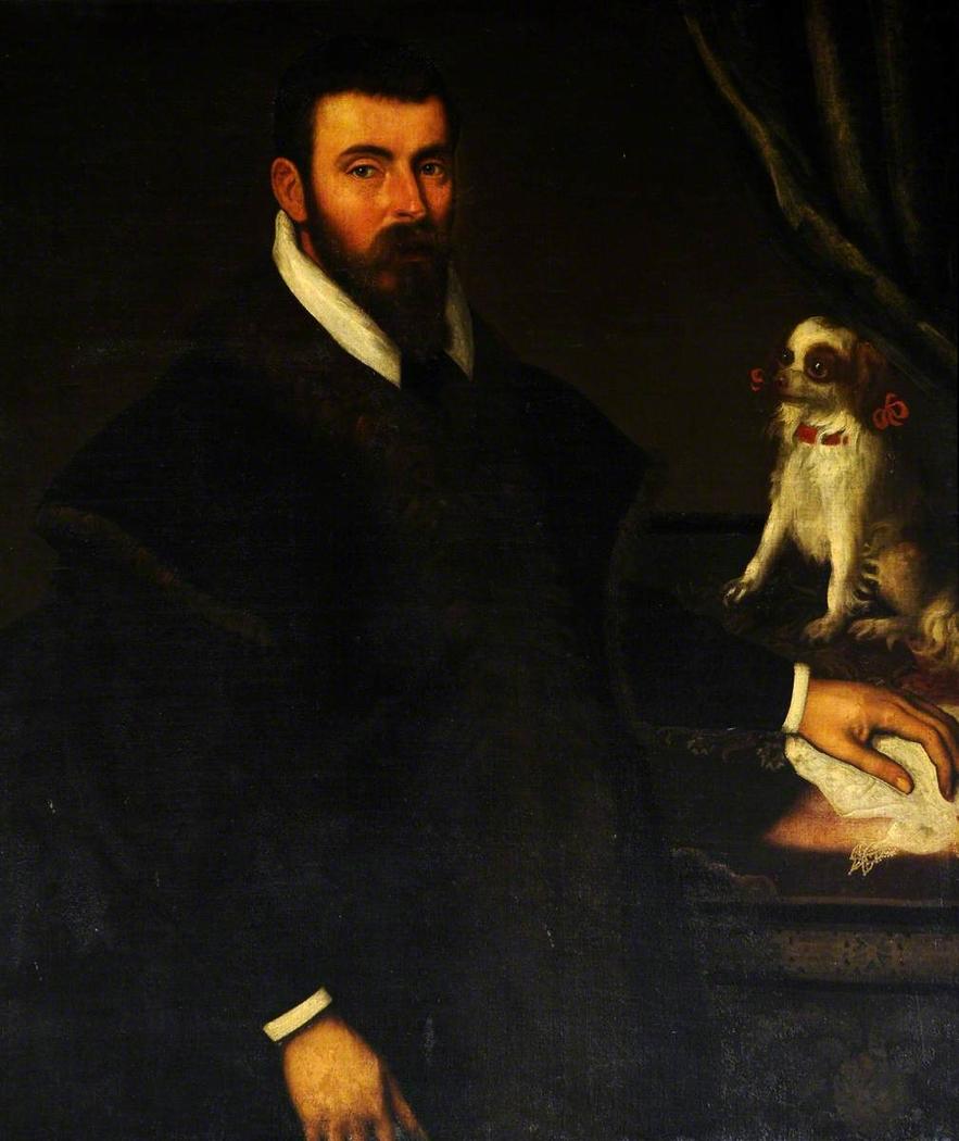A Gentleman with a Miniature Spaniel
